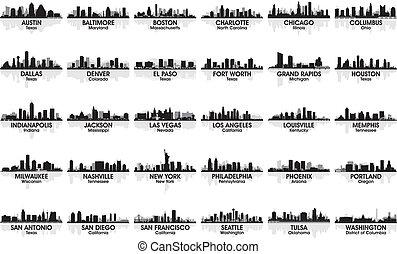 increíble, skyline., 30, cities., estados unidos de américa, conjunto, ciudad