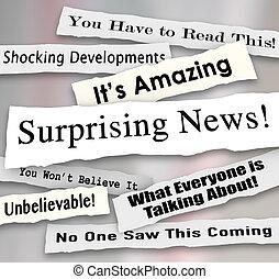 increíble, sorprendente, rasgado, rasgado, noticias, titulares, horrible