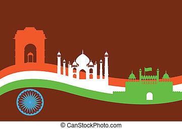 India fondo con monumento y construcción