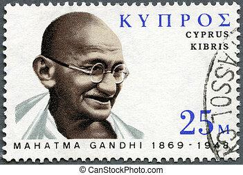 india's, 1970:, centenary, estampilla, gandhi, -, 1970, (1869-1948), mohandas, lucha, nacimiento, independencia, retrato, impreso, hacia, chipre, líder, karamchand, exposiciones