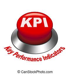 indicador, ), (, botón, ilustración, llave, kpi, rendimiento, 3d