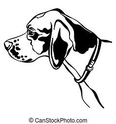 indicador, imagen, perro, vector, fondo blanco