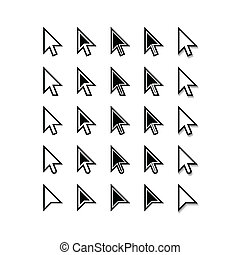 indicador, set., icons., cursor, vector, arrows., ratón