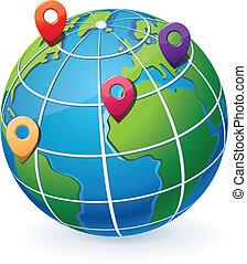 indicadores, globo, ubicación