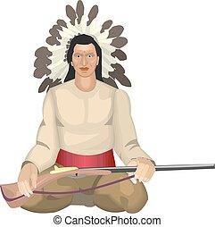 Indio americano con la ilustración del vector de armas.