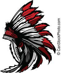 indio americano, nativo, cabeza, pluma