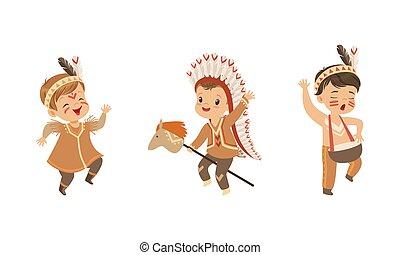 indio, americano nativo, vector, llevando, étnico, ilustración, conjunto, juego, niños, caricatura, indios, niñas, tener diversión, trajes, niños, preescolar