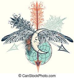 indio, bohemio, diseño, estilo, dreamcatcher, flechas, tribal