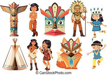 Indios nativos americanos y objetos tradicionales