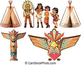 Indios nativos americanos y tepes