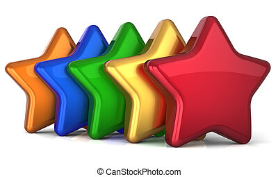 individualidad, cinco, multicolor, estrellas