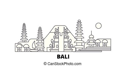 Indonesia, línea de vuelo de Bali. Indonesia, Bali esboza la ilustración del vector de la ciudad, símbolo, puntos de viaje, puntos de referencia.