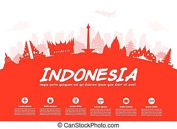 Indonesia viaja puntos de referencia.