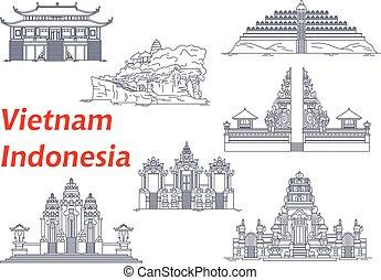 indonesia, vietnam, iconos, antiguo, templos