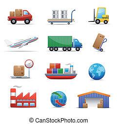 industria, conjunto, logística, icono, y