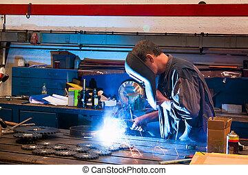 industria, taller, metal, soldador