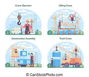 industrial, set., grúa construcción, concepto, sitio, constructor, operador