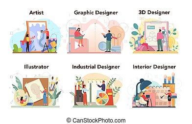 industrial, set., interior, gráfico, diseñador, diseñador, concepto, 3d
