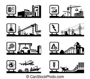 Industrias diferentes con logo