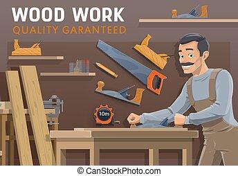 industry., carpintería, carpintería, herramientas, carpintero