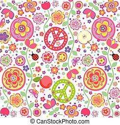 infantil, papel pintado, hippie