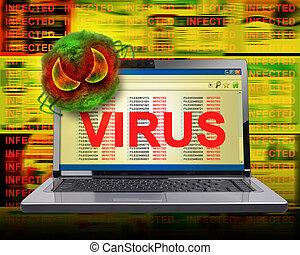 Infección del virus informático en Internet