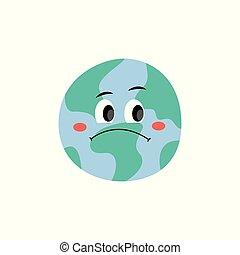 Infeliz y triste planeta Tierra vector de caracter del estilo plano icono ilustración aislada.