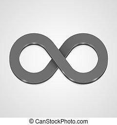 Infinito 3d Icon negro, diseño de plantilla.
