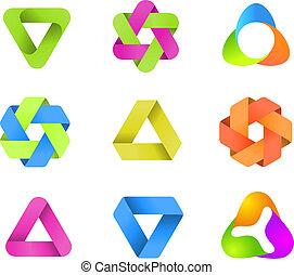 infinito, logotipo, formas, collection.