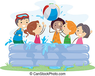 inflable, piscina