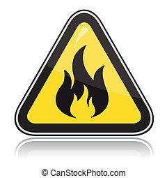 inflamable, signo., atención, triangular, amarillo, advertencia