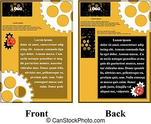 Infográficos con folletos de cinta con engranajes
