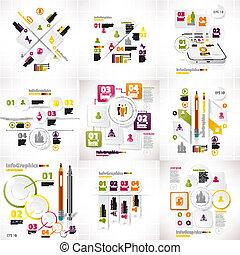 Infográficos set de nueve piezas en blanco de negocios