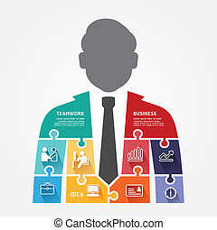 infographic, concepto, rompecabezas, ilustración, vector, plantilla, hombre de negocios, bandera