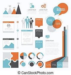infographic, conjunto, e, retro, empresa / negocio