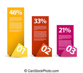 infographic, elementos, tercero, -, papel, segundo, vector, primero
