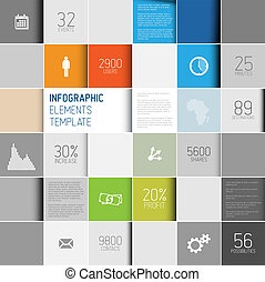 infographic, plano de fondo, resumen, ilustración, vector, /, plantilla, cuadrados
