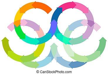 infographic, vector, círculo, girar, conjunto, fondo., -, coloreado, blanco, illustration.eps, flechas