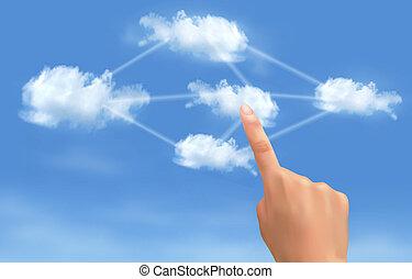 informática, concept., mano, conmovedor, conectado, vector., clouds., nube