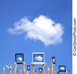 informática, nube, manos de valor en cartera, elegante, tableta, tacto, concept., teléfono, computadora, computador portatil, almohadilla