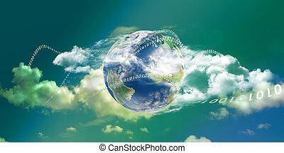 informática, nube, panorámico, tecnología