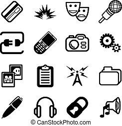 informática, red, icono, serie