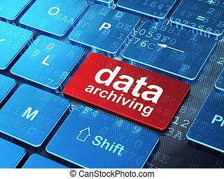 información, archiving, computadora, plano de fondo, teclado, datos, concept: