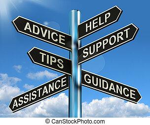 información, ayuda, poste indicador, consejo, apoyo, puntas, dirección, exposiciones