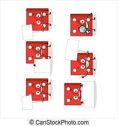 información, caricatura, tabla, rojo, dados, carácter, traer