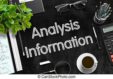 Información de análisis en pizarra negra. 3D.