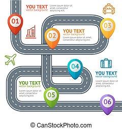 Información de carretera con elementos de localización. Vector