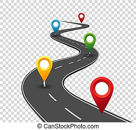 Información de carretera. El camino al éxito con punteros. Viaje de negocios. El concepto del progreso