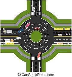 Información de carretera. Intercambio de carretera, rotondas. Está mostrando el movimiento de los coches. Paseos y cruces. Ilustración