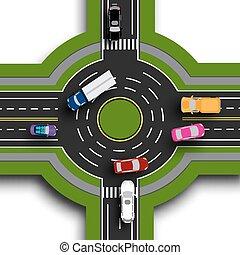 Información de carretera. Vista superior 3D. Intercambio de carretera, rotondas. Esto muestra el movimiento de los coches. Paseos y cruces. Ilustración